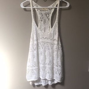 Hollister White Knit Tank Sz Large
